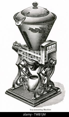 Sumerland & Co, tea measuring machine, with padlock.     Date: 1909 - Stock Image