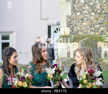 Slightly windblown bridesmaids waiting for the newly married couple - Stock Image