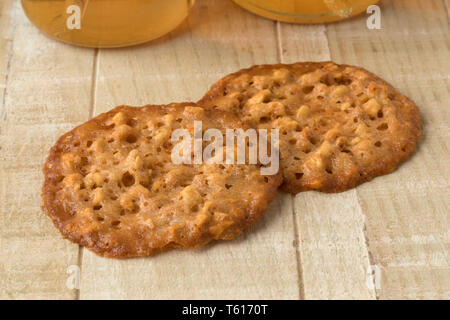 Traditional Kletskop cookies, a crispy thin baked cookie, originally made in Brugge, Belgium - Stock Image