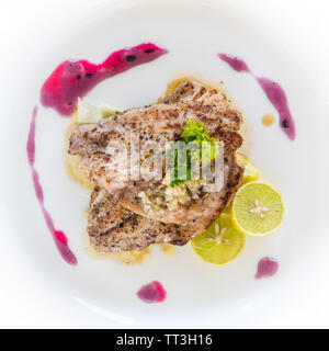 A plate of lemon grilled chicken - Stock Image