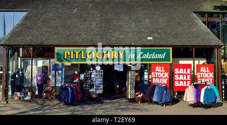 Pitlochry in lakeland,outdoor clothing shop,Bowness on Windermere,Lake District,Cumbria,England,UK - Stock Image