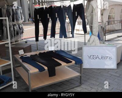 Quebec,Canada. Yoga jeans on sale - Stock Image