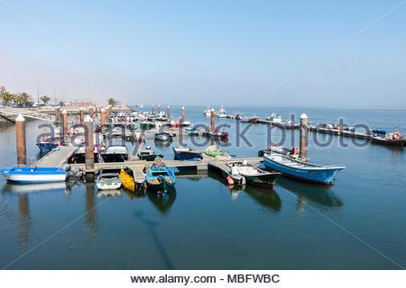small marina in Costa Nova near Aveiro on the Portuguese Silver Coast. - Stock Image