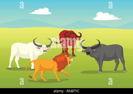 A vector illustration of Lion Surrounded by Buffaloes - Stock Image