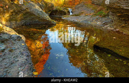 High dynamic range (HDR) image of autumn at the Waterford rapids near Sussex, Kings County, New Brunswick, Canada. - Stock Image