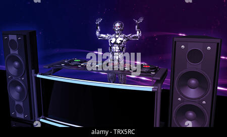 DJ Robot, disc jockey cyborg with hands up playing music on turntables, android on stage with deejay audio equipment, side view, 3D rendering - Stock Image