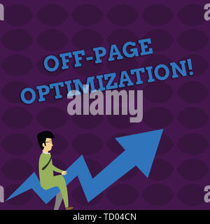 Handwriting text writing Off Page Optimization. Conceptual photo Website External Process Promotional Method Ranking Businessman with Eyeglasses Ridin - Stock Image