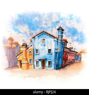 Colorful houses on the Burano, Venice, Italy - Stock Image