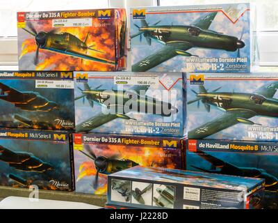 Plastic model kits unassembled kits aircraft aviation in store - Stock Image
