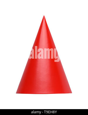 Red Cone Hat Front View Cut Out in White. - Stock Image