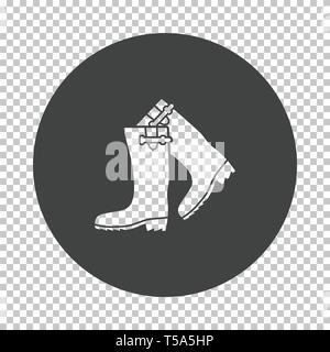 Hunter's rubber boots icon. Subtract stencil design on tranparency grid. Vector illustration. - Stock Image
