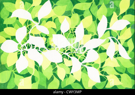 Painting of leaves on watercolor paper - Stock Image