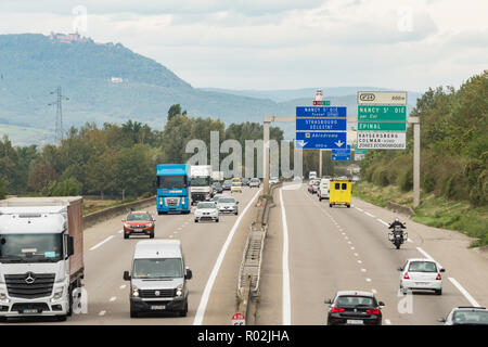 autoroute A35 part of European route E25 - junction 24 Colmar - France, Europe - Stock Image