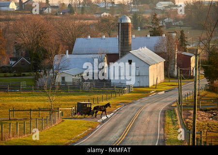Pennsylvania Dutch Country, an Old Order Mennonite buggy on a road near New Holland, Lancaster County - Stock Image