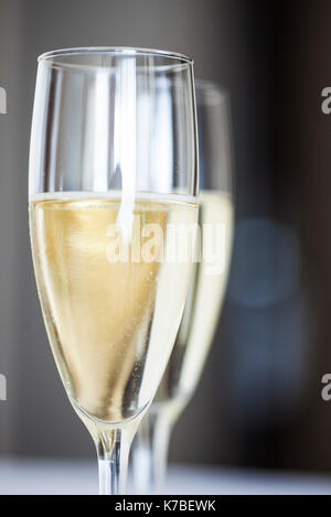 Close-up of champagne flutes - Stock Image