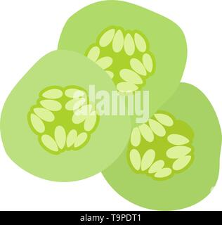 Cucumber Slices For SPA Icon. Flat Color Design. Vector Illustration. - Stock Image