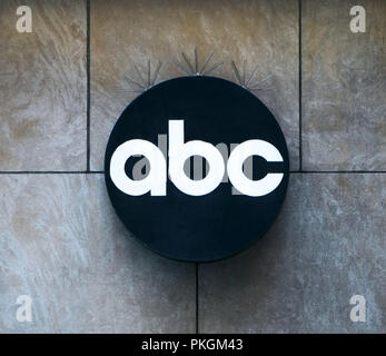 American Broadcasting Company logo on the exterior of an ABC's buildings on West 67th street in New York City. - Stock Image