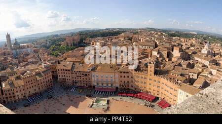 Panorama view of Siena and the Piazza Del Campo from the Torre del Mangia, Siena, Italy Europe - Stock Image