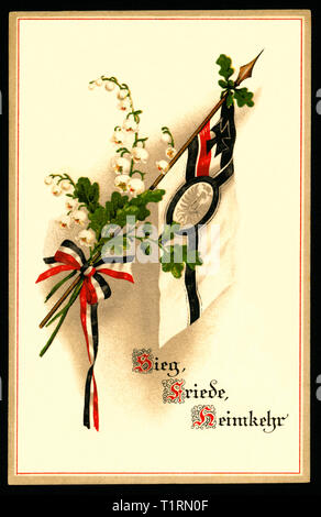 Germany, Scleswig-Holstein, Flensburg, WW I, propaganda, patriotic postcard with so called Reichskriegsflagge and the words ' Sieg - Friede - Heimkehr' (victory - peace - return home), sent 28. 09. 1915. , Additional-Rights-Clearance-Info-Not-Available - Stock Image
