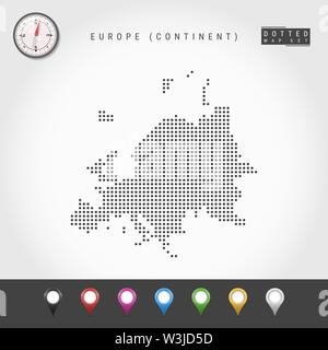 Dots Map of European Continent. Simple Silhouette of Europe. Realistic Vector Compass. Set of Multicolored Map Markers. Vector Illustration. - Stock Image