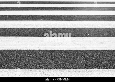 symmetry of monochromatic parallel lines of crosswalk, asphalt rough pattern, no people - Stock Image