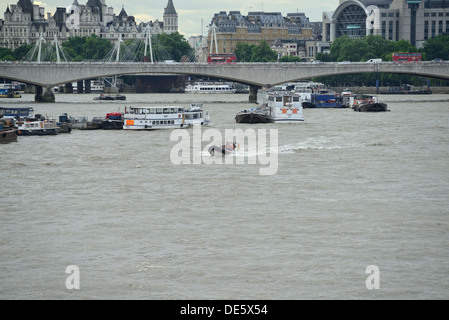 Speedboat on the Thames - Stock Image
