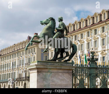 Statues and buildings beside the Palazzo Reale in the centre ofTurin, Piedmont, Italy - Stock Image