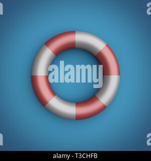 Rescue ring on the blue background. Pastel colors. 3D render illustration. - Stock Image