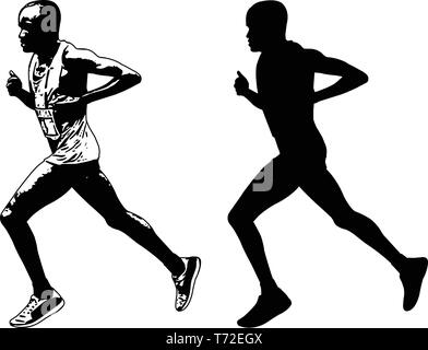 runner sketch and silhouette - vector - Stock Image