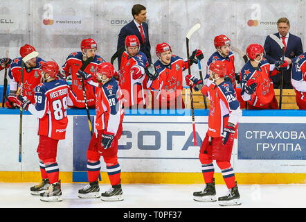 Moscow, Russia. 21st Mar, 2019. MOSCOW, RUSSIA - MARCH 21, 2019: HC CSKA Moscow's Nikita Nesterov, Artyom Blazhiyevsky, and Mikhail Grigorenko (L-R front) celebrate scoring with their teammates in Leg 5 of their 2018/19 KHL Western Conference semi-final playoff tie against HC Dynamo Moscow, at CSKA Arena. Mikhail Tereshchenko/TASS Credit: ITAR-TASS News Agency/Alamy Live News - Stock Image