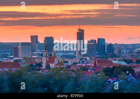 Aerial view over Old town of Vilnius and skyscrapers of New Center at sunrise, Lithuania, Baltic states. - Stock Image