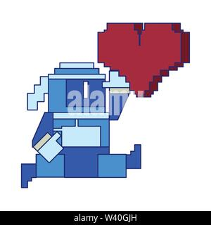 Videogame pixelated ninja character with life symbol blue lines - Stock Image
