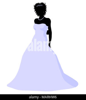 African ameircan woman in a wedding dress silhouette illustration on a white background - Stock Image