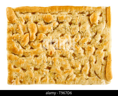 Savory focaccia bread seasoned with rosemary to accompany an Italian meal in a rectangular portion top view isolated on white - Stock Image