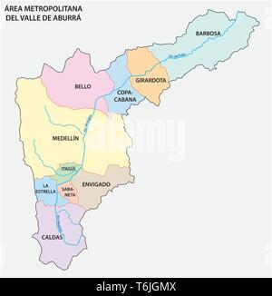Administrative and political map of the Colombian Metropolitan Area of the Aburra Valley - Stock Image