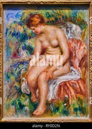 France, Paris, les Tuileries, museum of Orangerie, Baigneuse assise s'essuyant une jambe by Pierre-Auguste Renoir vers 1914 - Stock Image