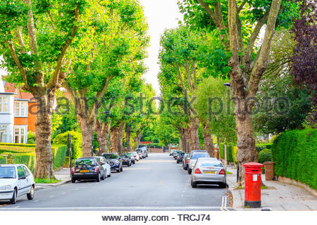 London, UK - September 15, 2017 - View of street lined with trees in West Hampstead of London - Stock Image