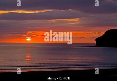 Early morning sunrise over the North Sea at Caithness in Scotland. - Stock Image