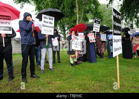 Birmingham, UK - Friday 7th June 2019 - Protesters chant near the Anderton Park Primary School in Birmingham in a protest against the No Outsiders education program - A High Court injunction is in force to prevent protesters gathering directly outside the school. Credit: Steven May/Alamy Live News - Stock Image