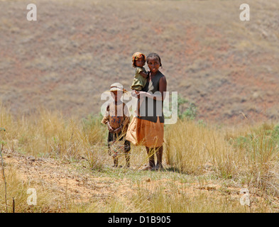 A Malagasy Woman and Her Children, Near Ambalavao, South Madagascar, Africa. - Stock Image
