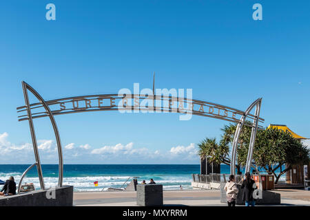 Surfers Paradise, Gold Coast, Australia, Entry to the three-kilometer strip of golden sand between Surfers Paradise and the Pacific Ocean is Australia - Stock Image