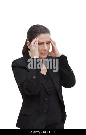 Middle aged woman with chronic pain syndrome fibromyalgia suffering from acute headache, isolated on white background - Stock Image