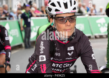 BTC City Ljubljana rider at the start of the 2018 Ovo Women's Tour - Stock Image