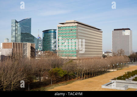 Belgium, Brussels, Office buildings, view from Place du Congres - Stock Image