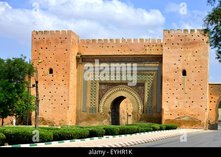 The City Gate, Meknes , Morocco, North Africa once the capital of Morocco - Stock Image