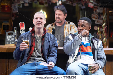 Sweat by Lynn Nottage, A Donmar Warehouse Production directed by Lynette Linton.With Patrick Gibson as Jason, Stuart McQuarrie as Stan,Osy Ikhile as Chris. Opens at The Gieilgud Theatre on 12/6/19 pic Geraint Lewis EDITORIAL USE ONLY - Stock Image