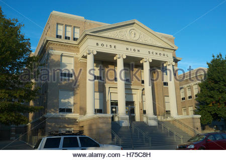 Evening light falls on Boise High School, in Boise, Ada County, Idaho, USA. - Stock Image