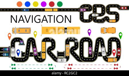 Roads, cars, navigator tags. The highway is stylized under the inscription GPS-navigator and car road. Direction of travel. Isolated Illustration - Stock Image