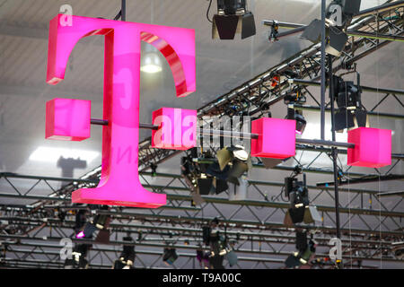 31.03.2019, Hannover, North Rhine-Westphalia, Germany - Telekom logo on the Hannover Messe stand. 00X190331D020CAROEX.JPG [MODEL RELEASE: NO, PROPERTY - Stock Image