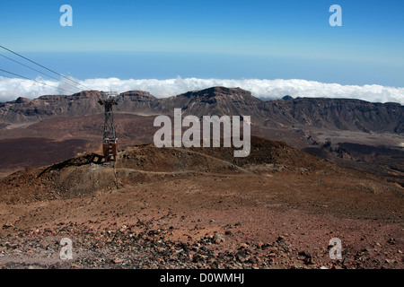 Mount Teide, Tenerife, Canary Islands. The Crater and Cable Car at the Top of the Volcano. - Stock Image